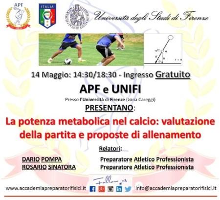 Seminario di Pompa a Firenze il 14 maggio 2016 su potenza metabolica e calcio